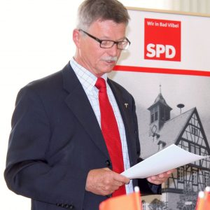 Jahreshauptversammlung SPD Bad Vilbel 2015, Udo Landgrebe bei seinem Bericht