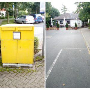 Das Bild zeigt einen Briekasten, der nach Meinung der SPD am Bahnhofsvorrplatz fehlt (linke Bildhäfte) und die erneuerrungsbedürftigen Bodenmarkierung der Parkplätze für außergewöhnlich Gehbehinderte im Bereich des Südbahnhofs
