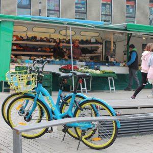 Leihräder auf dem Wochenmarkt in Bad Vilbel